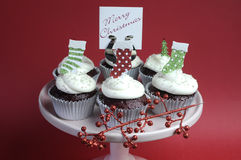 Christmas decorated chocolate red velvet cupcakes Royalty Free Stock Images