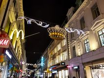 A Christmas decorated city street in Gothenburg, Sweden. stock photo