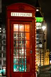 Christmas decorated classic phone bos in Westminster, London Stock Photo