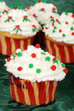 Christmas decorated cupcakes Stock Photo