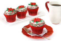 Christmas decorated cupcakes Royalty Free Stock Photos