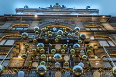The christmas decorated entrance at Magasin du Nord in Copenhage. N, Denmark, December 5, 2017 Stock Photography