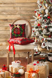 Christmas decorated fir tree with gifts Stock Photos