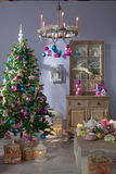Christmas decorated fir tree with gifts Stock Image