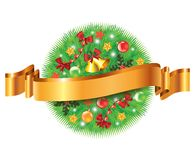 Christmas decorated fir-tree sphere and ribbon. Christmas greeting card with decorated fir-tree sphere and ribbon Royalty Free Stock Images
