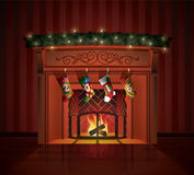 Christmas decorated Fireplace Royalty Free Stock Photography