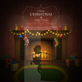 Christmas decorated fireplace vector illustration. Stock Images