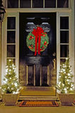 Christmas decorated front door Royalty Free Stock Images
