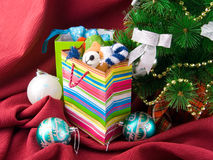 Christmas decorated fur-tree and  packages Stock Photos