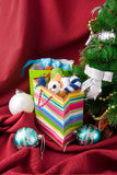 Christmas decorated fur-tree and  packages Stock Images