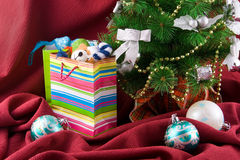 Christmas decorated fur-tree and  packages Stock Image