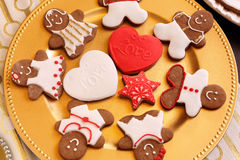 Christmas decorated gingerbread on the plate Stock Images