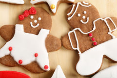 Christmas decorated gingerbread in shape of man and woman Stock Image