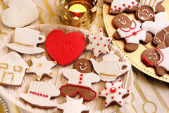 Christmas decorated gingerbread on the table Stock Photo