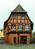 Christmas decorated half-timbered Alsatian house. royalty free stock image