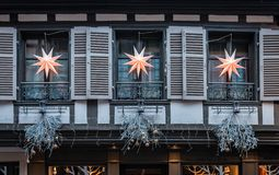 Christmas decorated half-timbered house, in Alsace. royalty free stock photos