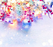 Christmas decorated holiday tree over white background Royalty Free Stock Photos