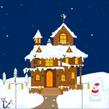 Christmas decorated House Stock Images