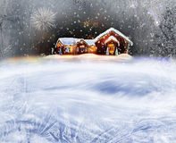 Christmas Decorated House. Winter Background Of Christmas Decorated House With Lights And Firework royalty free stock images