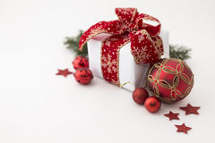 Christmas decorated little gift box Royalty Free Stock Photos