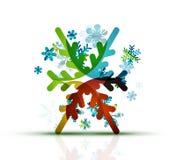 Christmas decorated modern snowflake icon Stock Photos