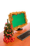 Christmas decorated office desk. On white background stock photography