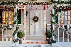 Christmas decorated porch Stock Image