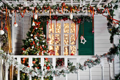 Christmas decorated porch Stock Photos
