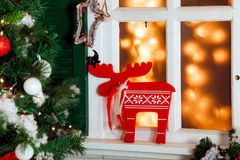 Christmas decorated porch Royalty Free Stock Images