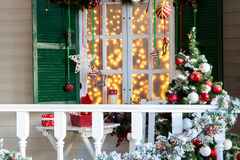 Christmas decorated porch Royalty Free Stock Image