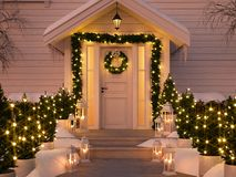 Christmas decorated porch with little trees and lanterns. 3d rendering. 3d rendering. christmas decorated porch with little trees and lanterns Stock Photos