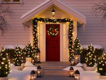 Christmas decorated porch with little trees and lanterns. 3d rendering. 3d rendering. christmas decorated porch with little trees and lanterns Royalty Free Stock Photo