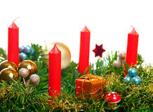 Christmas decorated with red candles Royalty Free Stock Image