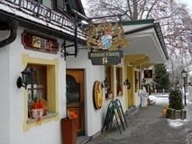 Christmas decorated restaurant, Austria Stock Images