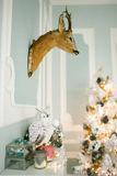Christmas decorated room with deer head on the wall Stock Photos