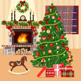 Christmas decorated room with xmas tree, fireplace and window. Flat style stock illustration