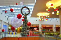 Christmas decorated shopping mall Stock Photos