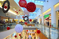 Christmas decorated shopping mall Royalty Free Stock Photography