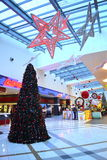 Christmas decorated shopping mall. A shopping mall with Christmas decorations and Christmas Tree,Picture taken on November 21st,2014,Varna city,Bulgaria Stock Photography
