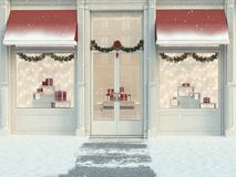 Christmas decorated store with gifts and lanterns. 3d rendering. 3d rendering. christmas decorated shop with little gifts and lanterns Stock Photos