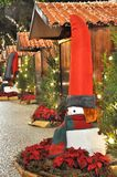 Christmas decorated street in Funchal at night Royalty Free Stock Images