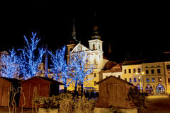 Christmas decorated town in night Jihlava Royalty Free Stock Photo