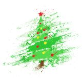 Christmas decorated tree abstract ink splash paint Stock Photos