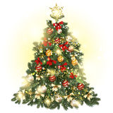 Christmas decorated tree with baubles, stars, snowflakes and lig Royalty Free Stock Photography
