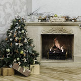 Christmas decorated tree with burning fireplace Royalty Free Stock Photo