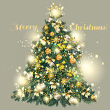 8Christmas decorated tree with golden and silver baubles, star Royalty Free Stock Photography