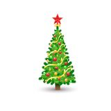 Christmas decorated tree isolated over white Royalty Free Stock Photography