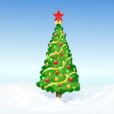 Christmas decorated tree snow holiday vector Stock Images