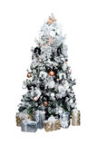 Christmas decorated tree on white background Royalty Free Stock Photos