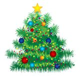 Christmas decorated tree on white background Stock Images